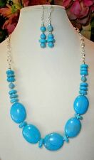 MAGNESITE and TURQUOISE HANDMADE NECKLACE with EARRINGS