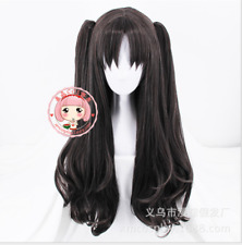 80CM Fate/Stay night Rin Tohsaka Anime Costume Cospaly Wig +2 ponytails