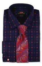 Dress Shirt Only by SL Trim&Classic Fit French Angle Cuff-Navy/Red-TA713-NV