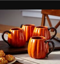 POTTERY BARN PUMPKIN COFFEE CUPS/MUGS, SET/4 ~ SOLD OUT EVERYWHERE! Great Gift!