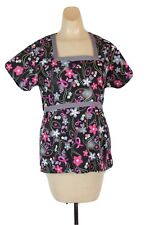 Medgear Womens Scrub Top Medical Uniform Black Floral Breast Cancer Size Xs B