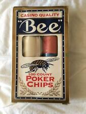 Bee Poker chips Casino Quality 100 Count Red Blue White