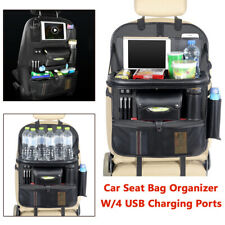 1X Car SUV Seat Back Organizer with 4 USB Ports Charger Multi-Pocket Storage Bag