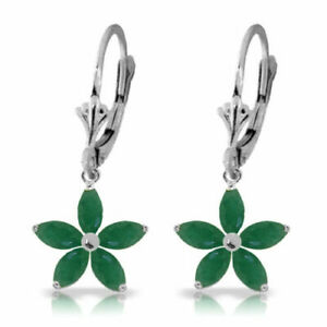 Genuine Emerald Gems Floral Leverback Earrings in 14K White, Yellow or Rose Gold