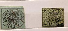 VATICANO 1852 1 E 2 BAIOCCHI - SENZA DENTELLATURA- LINGUETTA SUL RETRO