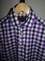 VGC* DUCHAMP London Mens Shirt Short Sleeve 100% Cotton Check SIZE Medium M 15.5
