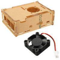 Acrylic Transparent Clear Case Enclosure Box + Cooling Fan for Raspberry Pi   #