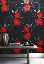 Floral Wallpaper Flower Glitter Effect Embossed Metallic Silver Red Grey Black