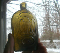 OPEN PONTIL GREEN 1/2 PINT STODDARD DOUBLE EAGLE FLASK GII-88 WITH DOTS IN OVALS