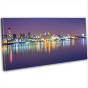 Liverpool Over The Mersey Skyline Panoramic Framed Canvas Wall Art Print