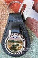 1968 and 2001 Ford Mustang BULLITT Genuine dyed  Leather Key Ring Fob