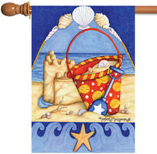 NEW Toland - Bucket 'o Beach - Colorful Summer Sand Castle Seashell House Flag