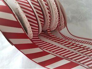 CANDY CANE STRIPE grosgrain ribbon Christmas - 3 6 9 16 22 & 38mm  *var lengths*