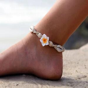 Women Boho Anklet Flower Shell Shape Wove Rope Ankle Bracelet Vintage Trinket KS