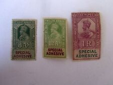 India #8a, 12a & 1R, King George V Special Adhesive Stamps, 3 different, 1920's