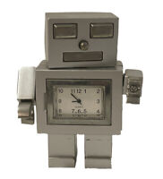 Vintage 1990s Robot Clock Silver Gray Heavy Metal 3.5 Inches Amazing Rare Japan