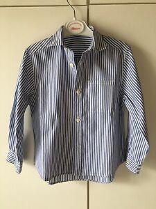 GUY ROVER Camicia bambino a righe blu e bianche a manica lunga.Taglia 3/4 anni