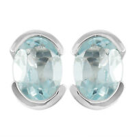 925 Sterling Silver genuine Sky Blue Topaz Gemstone  Earring  2.1 gms