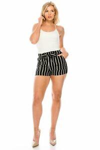 CI SONO Fashion Stripe Shorts, Black/Ivory