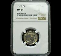 1916 Buffalo Nickel~BU Uncirculated~MS63 by NGC~Beautiful & Over 100 Years old~