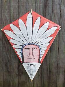 Vintage Sealed Hi-Flier Paper Kite Indian Chief Headdress Design made Illinois