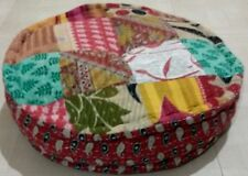 Kantha Patchwork Multi Color Bed Poufs Cushion Cover Handmade Round Pillow Cover