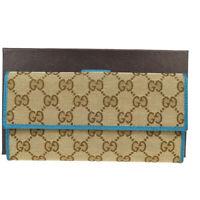 Auth Gucci GG Pattern Sherry Canvas,Leather Long Wallet (bi-fold) Blue,B 01FB254