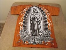 Medium Rust all over print Virgen Maria Catholic, roses, Low Rider t-shirt.