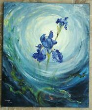 Tableau Acrylique vers 1970 Fleurs Garo Ansart Iris au clair de lune
