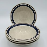 "SET OF 4 ~ 6 3/4"" CEREAL BOWLS CHATEAU STONEWARE JAPAN HAND PAINTED BROWN/BLUE"