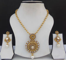 Ethnic Pearl Cz Bridal Jewelry South Indian Polki Golden Necklace Earrings Set