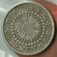 1908 (Year 41) Japanese 20 Sen Coin~ 80% Silver~ Pretty Pristine Silver Coin****