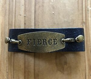 """Lenny and Eva Thin Leather Cuff Bracelet with """"FIERCE"""" Sentiment Free Shipping"""