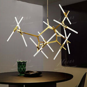 Modern Glass Branch Chandelier Metal Pendant Light Industrial Ceiling Fixture
