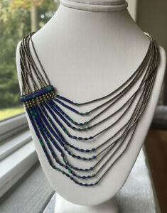 Native American Liquid Silver Lapis and Turquoise Beaded necklace 10 strand