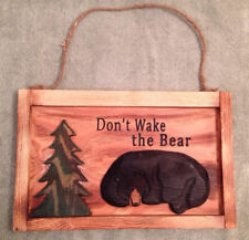 Handmade Wood Bear Sign Black Green Rope Trees Woods Hunting Hibernate Trophy