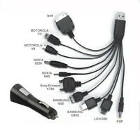 10 IN 1 UNIVERSAL USB MULTI CHARGER CABLE MOBILE phone Samsung NOKIA MP3 htc
