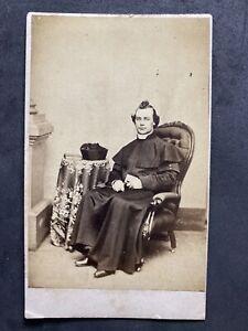 Victorian Carte De Visite CDV: Mystery Religious Clergyman Biretta (Hat)