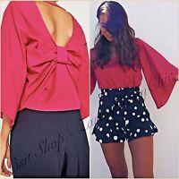 Zara Fuchsia Pink 3/4 Long Sleeves Crop Bow Crop Top Size UK 10 US 6 M Blogger ❤