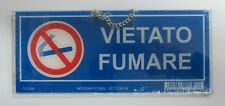 Placa señalización Prohibido humo de plástico rígido 9,5x23 cm con cadena