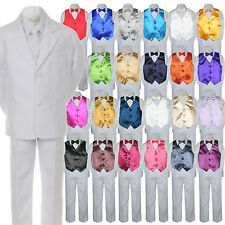 7pc Boy Baby Kid Teen Formal Wedding White Suit Tuxedo Extra Vest Bow Tie sz S-7