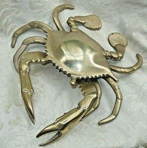 Vintage BRASS LARGE Mud Crab ASHTRAY FIGURINE Moving Claws Coastal Marine