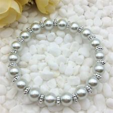 Wholesale fashion jewelry silver 8mm glass pearl stretch beaded bracelet DIY