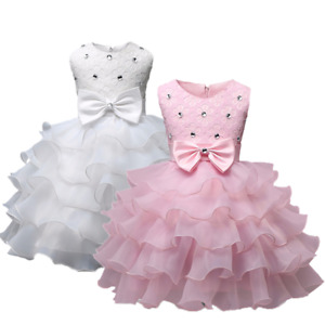 Baby Girls Princess Dress Christening Birthday Gown Wedding Party Dress Size 1-8