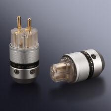 Viborg Audio Aluminum 24K Gold Plated SCHUKO EU Power Plug Connector+IEC Female