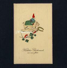 Neujahr ZWERG m GLÜCKS-SCHWEIN / DWARF w LUCKY PIG n CLOVER New Year * AK u 1910