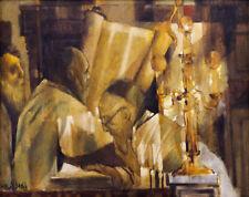 Charles Bragg (American, 1931-) Oil painting  Judiaca Rabbi Reading Torah