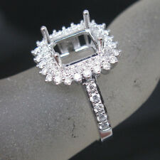 Emerald Cut 7×8mm Solid 14Kt White Gold Natural Diamond Semi-Mount Jewelry Ring