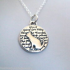 Cat Charm Necklace - 950 Sterling Silver - Handmade Inspirational Kitty Pendant