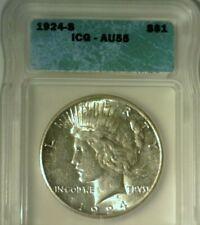 1924 S   SILVER PEACE DOLLAR  ICG AU-55   NICE LOOKING COIN!!!
